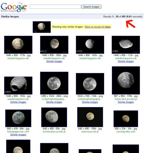 0.01 segundos: ya tenemos 478 lunas como la que buscamos