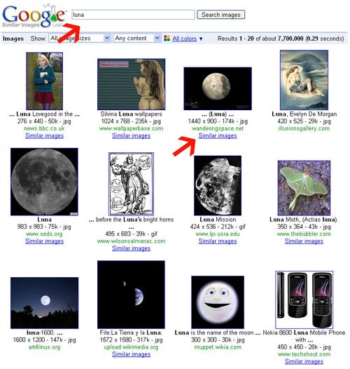 En url http://similar-images.googlelabs.com  ponemos 'luna' (sólo habrá que escribir esto, por ahora)